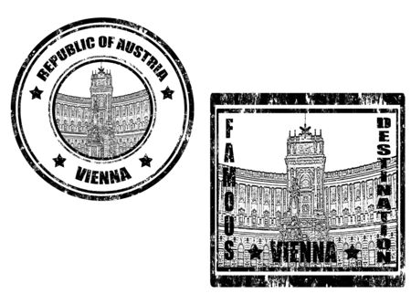 Set of grunge rubber stamps with word Vienna and famous destination Vector