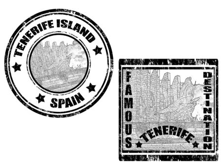 canary islands: Set of stamp with word Tenerife and famous destination inside ,vector illustration