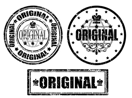 Set of grunge office rubber stamp with the word original written inside the stamp Stock Vector - 14589878