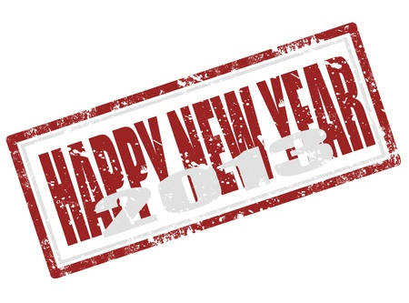 Grunge rubber stamp with word happy new year inside Vector