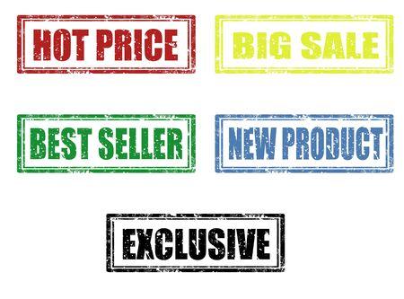best seller: Set of grunge rubber stamps Illustration
