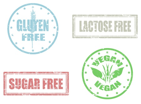 Set of grunge rubber stamps vectors of allergy products,gluten,sugar and lactose free