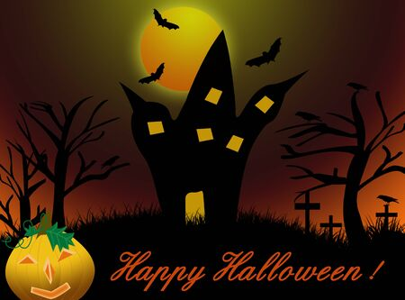 Halloween night background with castle,pumpkin and word Happy Halloween  Stock Vector - 15887511