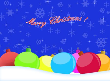 winter background with beautiful various colors of christmas balls Vector