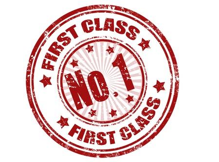 first class: First class grunge rubber stamp,vector illustration