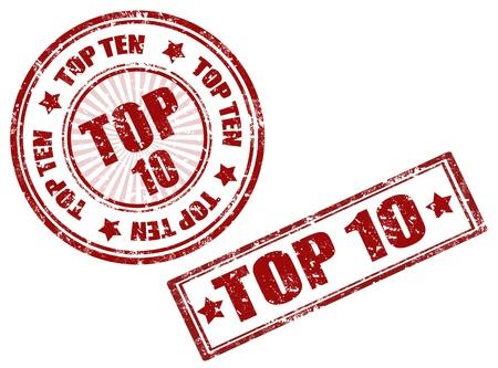 Set of grunge rubber stamps with words Top 10 inside,vector illustration Illustration