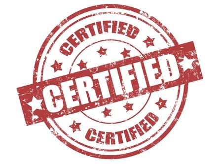 Grunge sello de goma con la palabra certificada dentro, ilustración vectorial