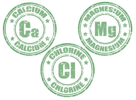 magnesium: Grunge rubber set of stamps with calcium,magnesium and chlorine, illustration