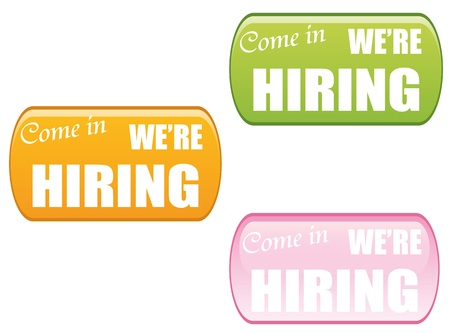 come in:  Come in we�re hiring, icon set,vector illustration