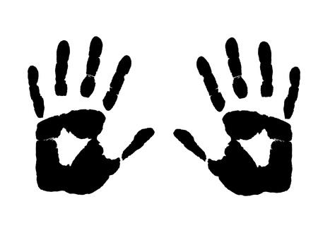 print: Manos imprimir en ilustraci�n vectorial de fondo blanco,