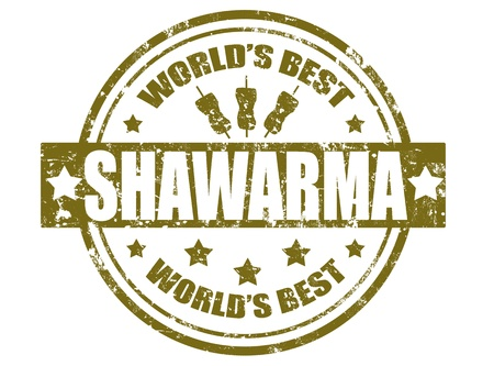 Grunge rubber stamp with the word shawarma  inside the stamp,vector illustration Vector