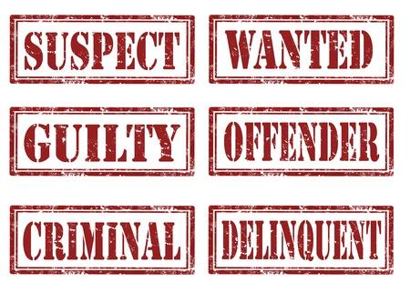 suspect: Set of grunge stamps about justice words written inside,vector illustration Illustration