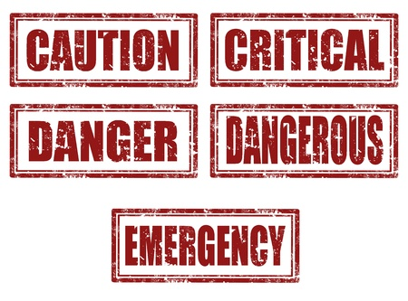 critical: Set of grunge rubber stamps with text caution,critical,danger,emergency inside, illustration