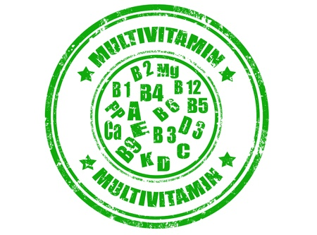 Grunge rubber stamps with word multivitamin inside,vector illustration Stock Vector - 18221141