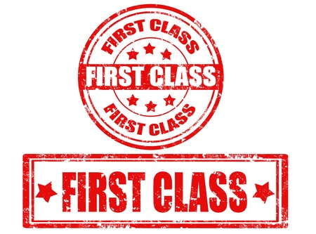 first class: Set of grunge rubber stamps with text first class inside ,vector illustration