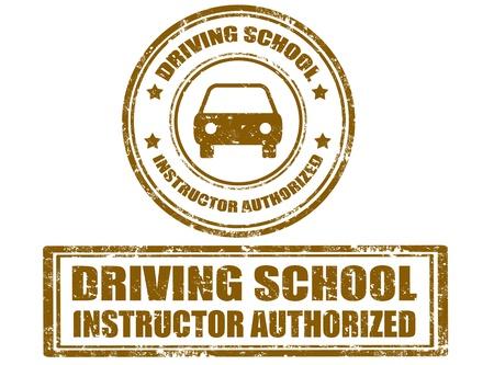 autoscuola: Set di timbro di gomma grunge con il testo scuola guida dentro, illustrazione vettoriale