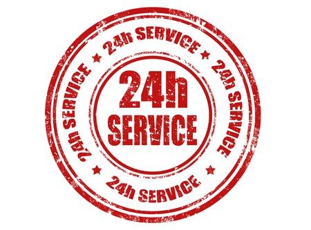 24h service stamp, vector illustration Illustration