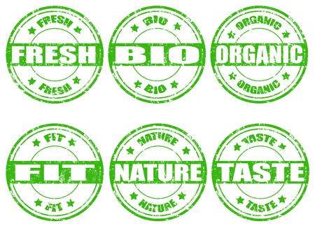 Set of green natural stamps on white vector illustration Stock Vector - 18561769