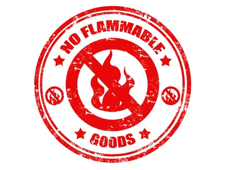 conflagration: NO flammable grunge stamp, vector illustration