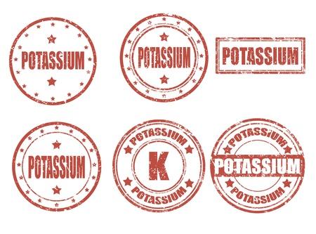 potassium: Grunge rubber set of stamps with potassium,vector illustration