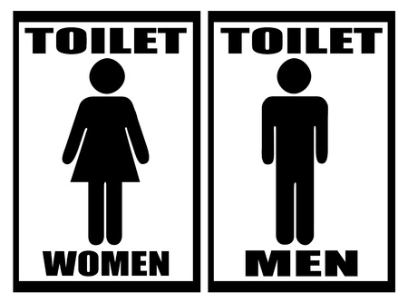 man and women wc sign: Man   Woman restroom sign on white,vector illustration