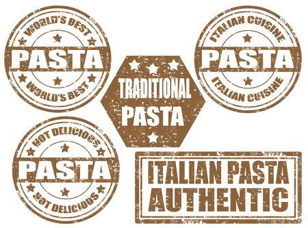 stamper: Grunge rubber set of stamps with word pasta inside illustration