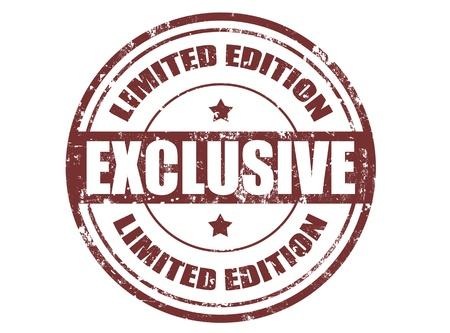 stamper: Grunge rubber stamp with word exclusive inside , illustration
