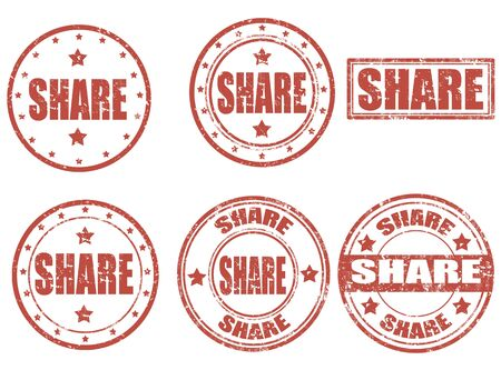Set of grunge rubber stamps with word share inside, illustration Stock Vector - 18660820