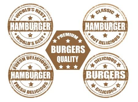 Set of grunge rubber stamps with word hamburger inside,vector illustration Vector