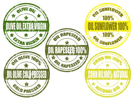 Set of grunge rubber stamp with different vegetable oils,vector illustration Vector