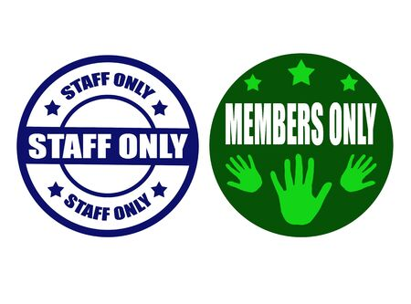 vip area: Set of stamps with text staff only,members only inside,vector illustration
