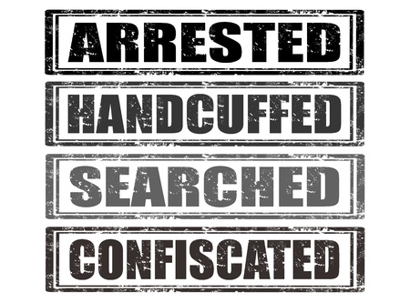 handcuffed: Set of grunge rubber stamps with words arrested,handcuffed,searched,confiscated inside,vector illustration Illustration