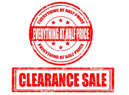 clearance sale: Set of grunge rubber stamp with text clearance sale inside,vector illustration Illustration