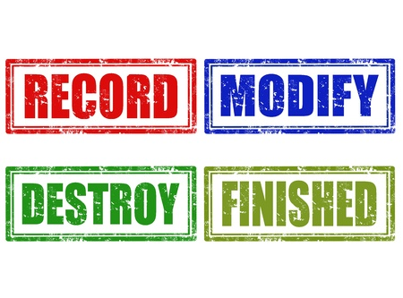 modify: Set of grunge rubber stamps with word record,modify,destroy,finished,vector illustration