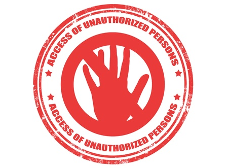 restricted area sign: Grunge rubber stamp with text access of unauthorized person inside ,vector illustration Illustration
