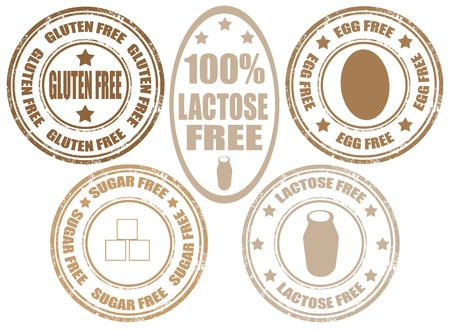 lactose: Set of grunge rubber stamps  of allergy products,gluten,sugar and lactose free Illustration