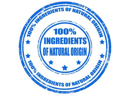 the origin: Grunge rubber stamp with text 100   ingredients of natural origin,illustration