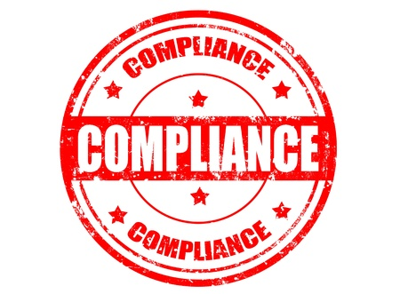 Stylized red stamp showing the term compliance,illustration
