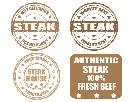 Set of grunge rubber stamps with the word steak written inside, vector illustration Vector