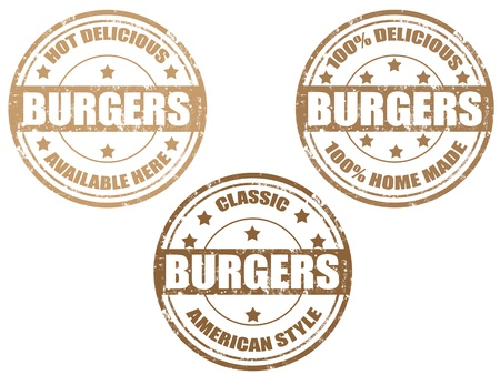 Set of grunge rubber stamp with word burgers inside,vector illustration Vector