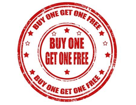 umÃ? ní: Grunge sello de goma con el texto compre uno y llévese otro gratis en el interior, ilustración vectorial