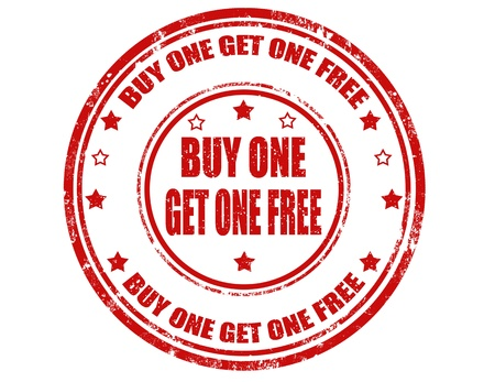 Grunge rubber stamp with text buy one get one free inside,vector illustration Vettoriali