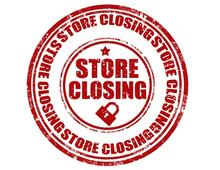 liquidate: Grunge rubber stamp with text store closing inside,vector illustration