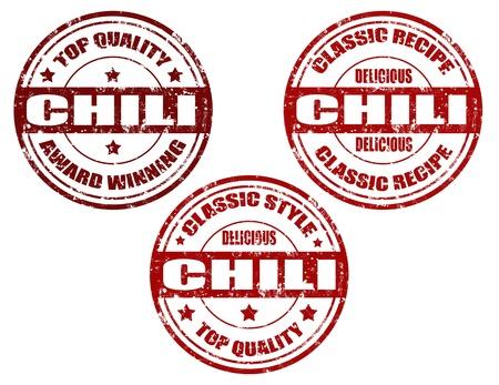 Set of grunge rubber stamps with word chili inside,vector illustration Illustration