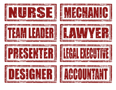 different jobs: Set of grunge rubber stamps with different jobs,vector illustration Illustration