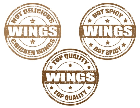 Set of grunge rubber stamps with word wings inside,vector illustration Vector