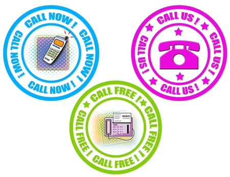 Set of labels with text call now,call free and call us,vector illustration Stock Vector - 20304725