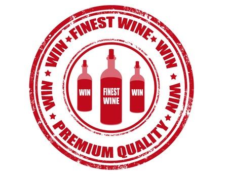 finest: Grunge timbro di gomma con il testo miglior vino dentro, illustrazione