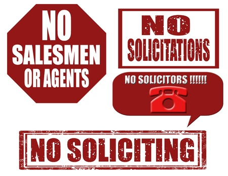 solicitors: Set of stamps with text no soliciting,no solicitation,illustration Illustration