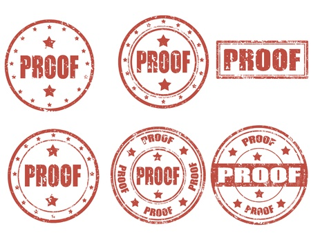 conclude: Set of grunge rubber stamps with word proof inside Illustration